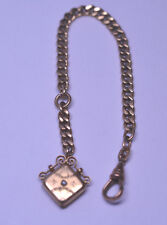 Hook & Seed Pearl Engraved Fob Charm Antique Gold Filled Charnier Watch Chain W/