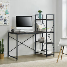 Schreibtisch + Regal Bürotisch Computertisch Arbeitstisch Tisch Walnuss/Schwarz