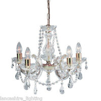 SALE - MARIE THERESE CRYSTAL GLASS CHANDELIER LED IN POLISHED BRASS - 5 LIGHT