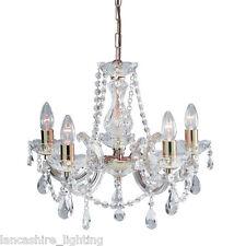 Vendita-Marie Therese Crystal Vetro Lampadario in ottone lucido - 5 Luci