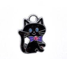 10 Silver Tone Enamel Cat Charm Pendants 19x14mm Fashion