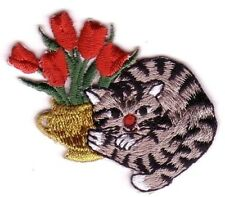 American Bobtail Cat w/ Tulip Embroidery Patch