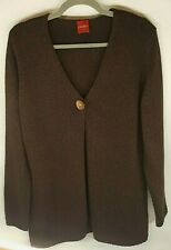 Olsen Ladies Cardigan UK 18 Dark Brown Knit Wear Long Sleeve One Wooden Button
