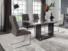 Black White Grey Donatella Marble Rectangular Dining Table 160cms & 6 Chairs