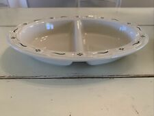 Longaberger Pottery Large Divided Serving Dish Traditional Green