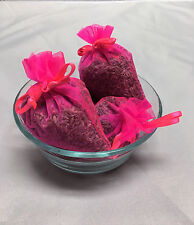 Set of 4 Lavender Sachets made with Hot Pink Organza Bags