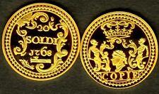 ★★★ CORSE : RARE COPIE PLAQUEE OR DE LA 20 SOLDI 1768 CORTE ★★ NEUVE FDC