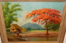 "JOSE BUMANLAG DAVID ""PHILIPPINES"" ORIGINAL OIL ON BOARD LANDSCAPE PAINTING"