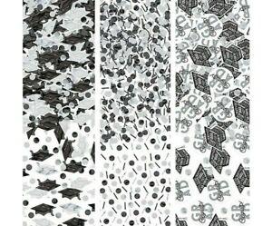 Graduation Black, White and Silver Confetti – 1.2 oz