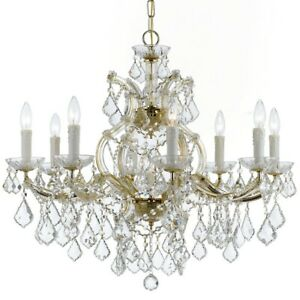 Crystorama Maria Theresa 9 Light Clear Crystal Gold Chandelier - 4408-GD-CL-MWP