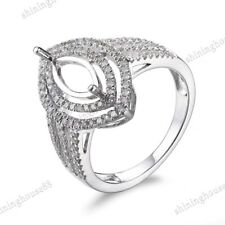 Marquise 10x5mm 14K White Gold Pave Semi Mount Single Cut SI/H Real Diamond Ring