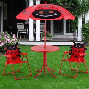 Kindersitzgruppe Kindersitzgarnitur Kindermöbel Gartengarnitur klappbar Rot