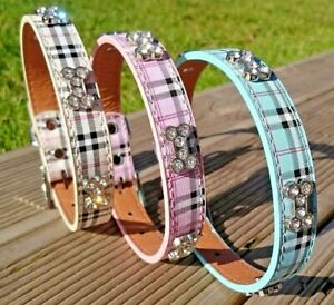Dog Collar Puppy Coller Tartan Plaid Small Medium PU Leather Terrier Scottish UK