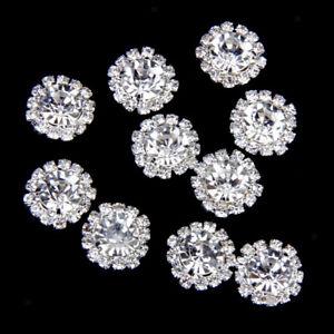 10x Crystal Buttons Flatback Embellishment Wedding Crafts Clothing Bag Decor