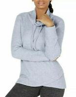 Ideology Women's Plus Waffle Cowl-Neck Tulip-Hem Sweater Infinity Blue Size L