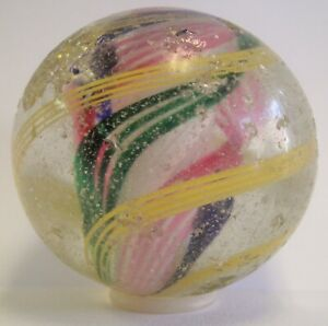 """LARGE 1.75"""" ANTIQUE GERMAN HAND BLOWN GLASS MARBLE SHOOTER RED GREEN BLUE SWIRLS"""