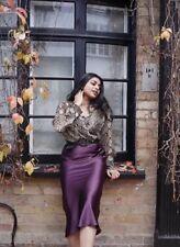 TOPSHOP Satin Bias Midi Skirt UK16 BNWT •sold out• PLUM•last one•