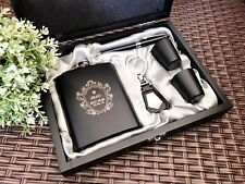 Personalised Engraved Black Gloss Hip Flask Set in Wooden Gift Box - Best Man