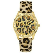 NEW GUESS CATWALK LEOPARD GOLD SWAROVSKI LADY LEATHER STRAP WATCH U85109L1 NWT