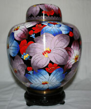 "9"" China Floral Festival Cloisonne Cremation Urn - New"