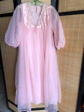 Vintage Peach Nylon Chiffon Long Peignoir Set Nightgown Robe Satin Trim Bust 42