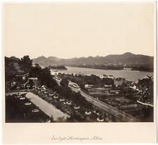 Allemagne, le Rhin, vue sur les sept Montagnes  Vintage albumen print  Tirag