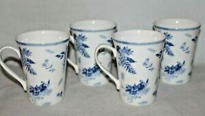 Mikasa Kiley Blue Floral Bone China Coffee Mugs Set of Four New
