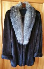GORGEOUS BLACKGLAMA® MINK STROLLER COAT WITH SILVER FOX FUR COLLAR