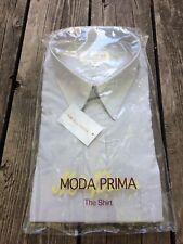 Moda Prima Dress Shirt Pale Gray 17 1/2 34 35 Cotton Polyester New Old Stock