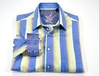 Robert Graham M Men's Flip Cuff Long Sleeve Button Front Embordered Stripe Shirt