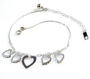 Women Dancer White Gold Plated Love Sweet Heart Bracelet Anklet Adjustable 29cm