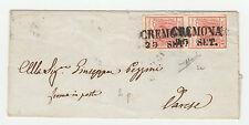 FRANCOBOLLI 1850 LOMBARDO VENETO COPPIA 15 C. ROSSO I° TIR CREMONA 23/9 Z/4032
