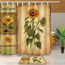 Vintage Sunflowers and Wall Bathroom Shower Curtain Waterproof Fabric 71*71 inch