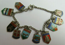 Vintage Silver & Enamel Souvenir Travel Charm Place Names Bracelet 10 UK Charms