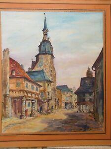 RAYMOND BESSE 1899 - 1969 Grande  AQUARELLE Bretagne DINAN Rue de L'Horloge