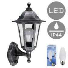 Distressed Silver Outdoor LED Garden Wall Lantern Dusk Dawn Sensor Light  Bulb