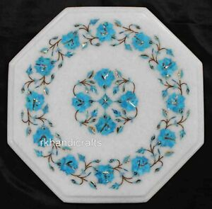 13 Inches Turquoise Stone Coffee Table Top Marquetry Art Marble Patio