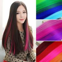 Women Multi-Color Long Straight Synthetic Clip in on Hair Extensions Piece Hot