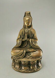 GUAN YIN BUDDHA, Messing, Buddhismus Skulptur, Kwan Ying, China 18 cm C32767