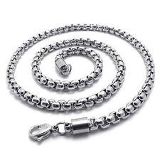 Schmuck Herren-Kette, Edelstahl Halskette, Silber, Breite 5mm, Laenge 55cm F5M8