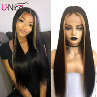 UNice 100% Human Hair Lace Front Wigs for Women Brazilian Straight Highlight Wig