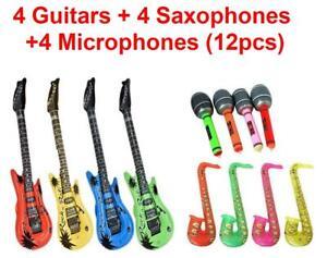 12pcs Party Inflatable Toy Blow Bundle Set 4 Guitars 4 Saxophones 4 Microphones