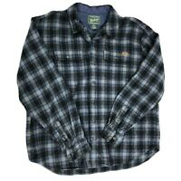 Woolrich Wool Flannel Plaid Shirt Men's Size XL 100% Wool Blue White Outdoors