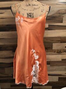 Victoria's Secret  ORANGE SLIP Dress Lingerie Nightgown  LACE Size L