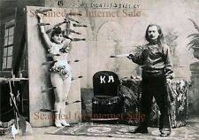 1890s (( KNIFE THROWER PHOTO )) Sexy Assistant Early Circus Dare Devil  Acrobat