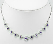 "13.9g Solid Sterling Silver Sparkling Amethyst & CZ Halo 16""-17"" Necklace ITALY"