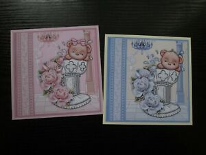 2 x Baby Boy/ Baby Girl BAPTISM / CHRISTENING Card Making Toppers & Sentiments