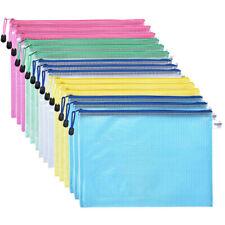 15Pc Plastic Zip A4 Document Wallet Folder Pencil Case File Storage Bag Pouch AU