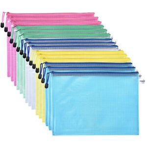 15Pcs A4 Clear Plastic Zip Document Wallet Folder Pencil Case File Storage Bag
