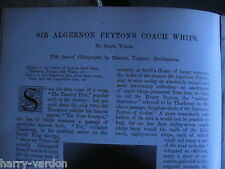 Whips  Coach Horse Riding Peyton Collection Manly Furniss Rare Old Article 1898